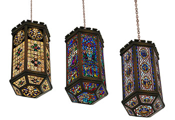 These three hanging stained glass lamps will add colorful light and beauty to any space.