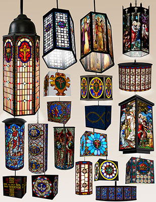 Several beautiful hanging stained glass lamps are pictured.