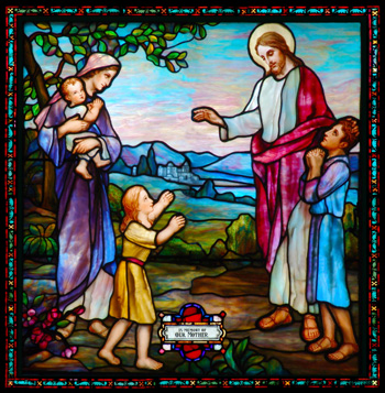 This stained glass image of Christ blessing the little children will make a beautiful stained glass memorial for your church or home.