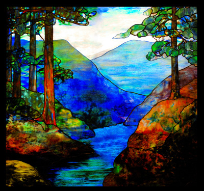 Mountain Stream Tiffany Stained Glass