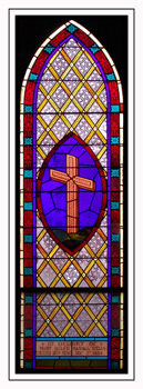 A geometric stained glass window with an arch and a cross