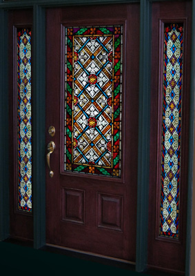 A door is pictured with colorful stained glass sidelights