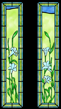 Two panels are featuring white lilies