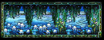 A beautiful Tiffany window panel featuring a lake and water lilies.